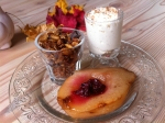 Roasted cranberry pear, cinnamon whipped cream, homemade granola